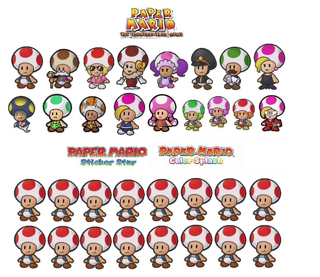 Imagem comparando os Toads nos jogos da série Paper Mario